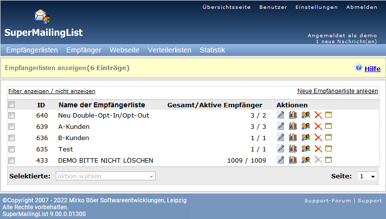 Screenshot vom Programm: SuperMailingList